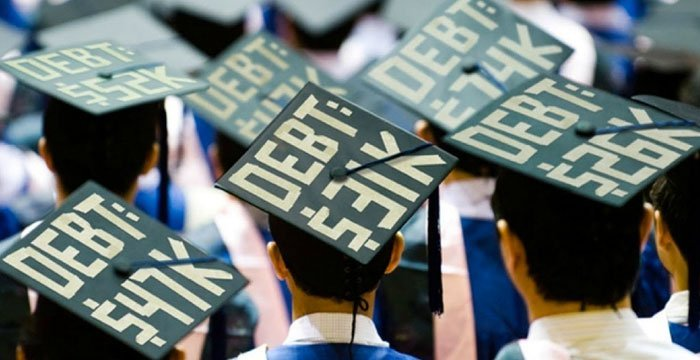 Mortar Boards show amount of student debt for each graduate